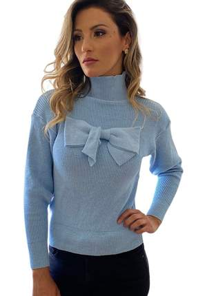 Blusa Feminina Manga Longa Tricot Laço Liso Azul