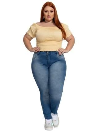Calça biotipo jeans feminina skinny midi plus size ref.27503