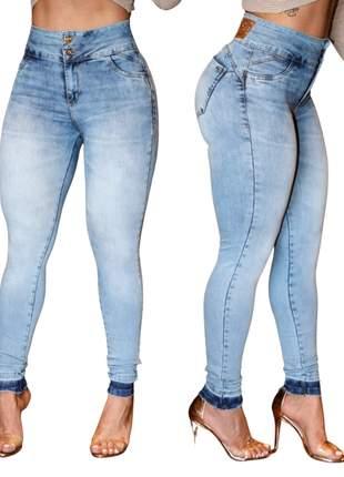 Calça Jeans Feminina Cintura Alta Lycra Empina Bumbum