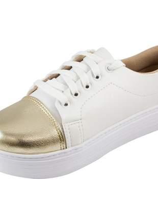 Tênis flatform di stefanni branco com biqueira dourada