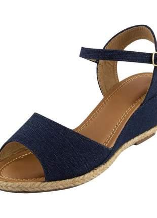 Sandália anabela aberta di stefanni jeans escuro