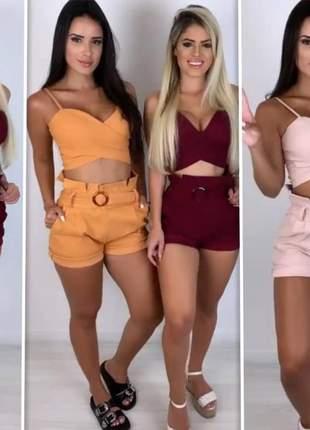 Conjunto cropped alcinha transpassado shorts cintura alta