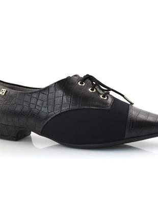 Sapato Oxford Piccadilly Bico Fino Croco Preto 278019-1