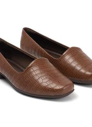 Sapato Piccadilly Bico Redondo Croco Amêndoa 250132-220
