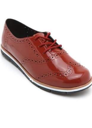 Sapato Oxford Moleca Verniz Telha 5613.518