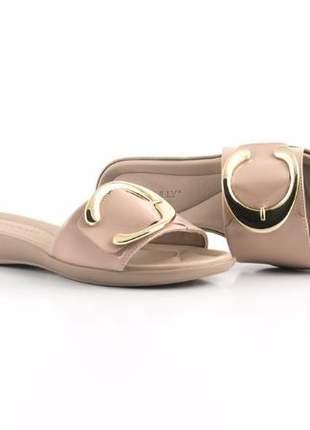 Chinelo Sola Pu Piccadilly com Fivela Dourada  Rose 500174