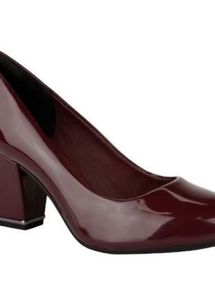 Sapato Verniz Salto Grosso Dakota Vinho B8641