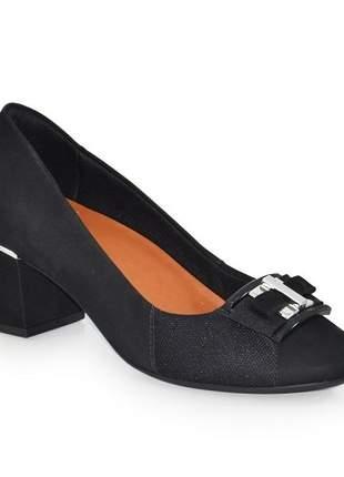 Sapato Salto Médio Usaflex Veludo Preto Z2605/61