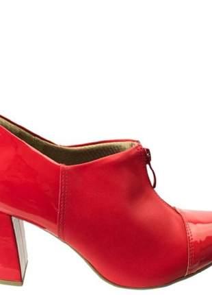 Sapato Ankle Boot Piccadilly Salto Grosso Vermelho 746003