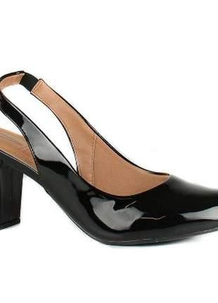 Sapato Vizzano Chanel Verniz Salto Grosso Preto 1288.103