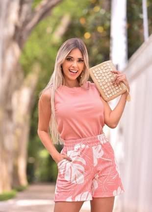 Conjunto verão de short e blusa canelada