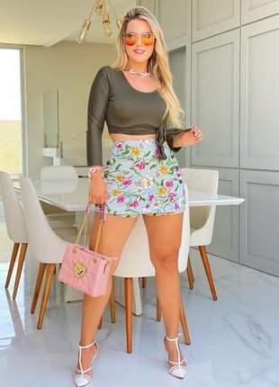 Conjunto de shorts e blusa feminino verão de shorts e blusa
