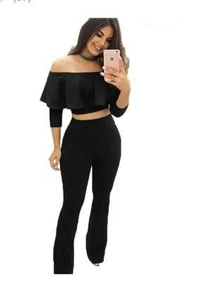 Conjunto cropped  calça flare cintura alta feminina
