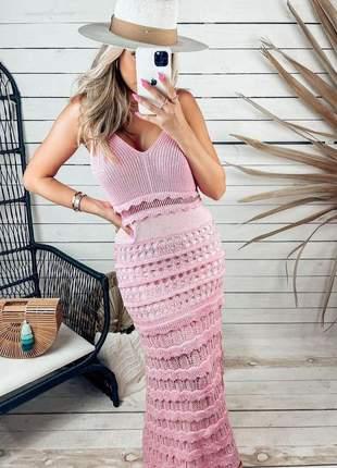 Vestido longo tricot feminino rendado