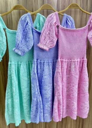 Vestido curto tricot alça babado feminino