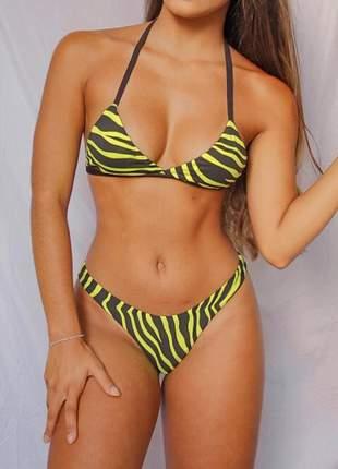 Biquini zebra amarelo neon