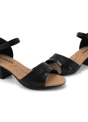 Sandália salto bloco preto feminina comfortflex 2157404p