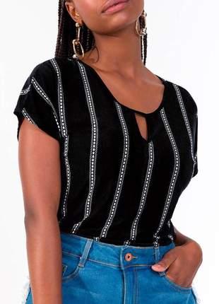 Blusa feminina listrada preta
