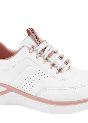 Tênis feminino ortopédico  ultrasoft branco comfortflex 2190401