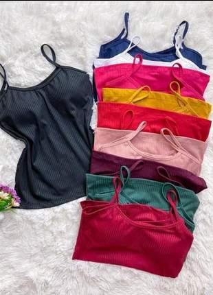 Blusa feminina  regatinha canelada blusinhas de alcinha moda feminina