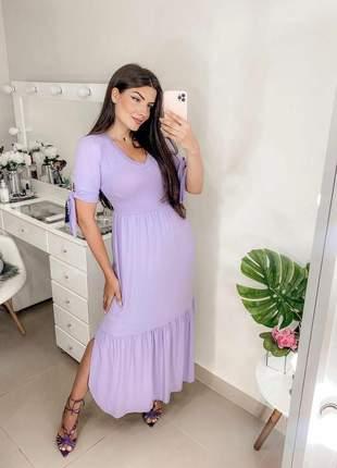 Vestido longo feminino manga