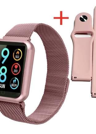 Smartwatch relógio inteligente relógio p70 com 2 pulseiras