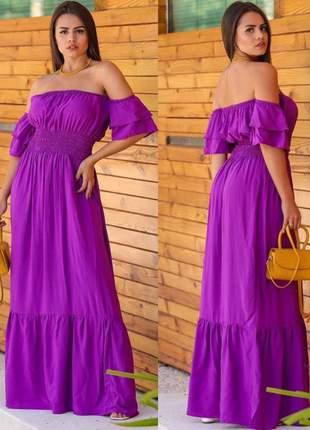 Vestido longo ciganinha babado sereia viscolinho- envio rápido