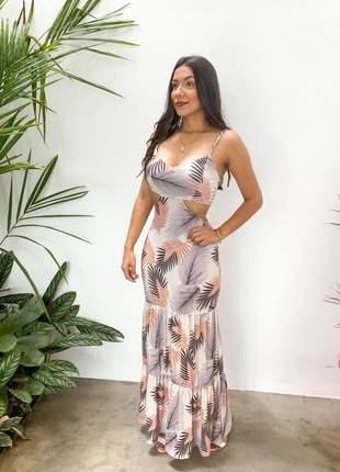Vestido longo estampado com abertura nas laterais