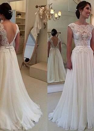 Vestido de casamento noiva comprido marie floral renda