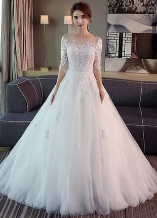 Vestido de noiva debutante casamento longo channel