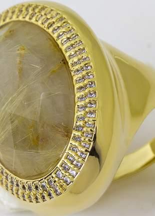 Anel folheado a ouro 18k cravejado zircônias pedra natural