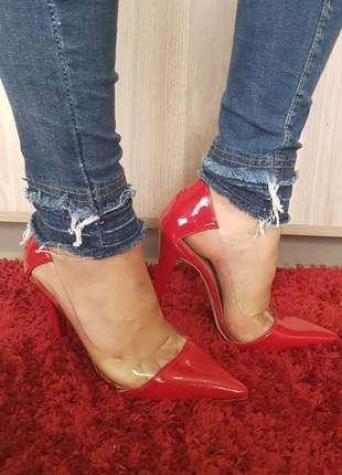 Sapato scarpin sobressalto vermelho transparente
