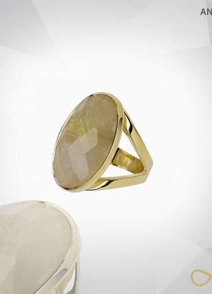 Anel oval facetado com pedra rutilo folheado a ouro 18k