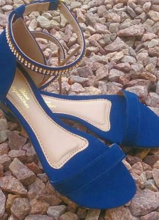 Sandália rasteirinha flat azul marinho com strass tam. 35