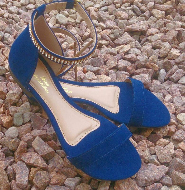 0867eb7c2f Sandália rasteirinha flat azul marinho com strass tam. 35 - R  59.90 ...