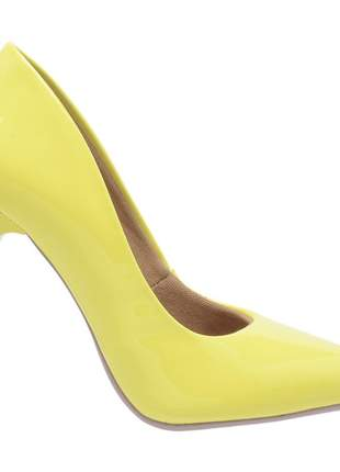 Sapato social feminino scarpins amarelo salto alto fino