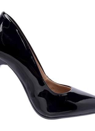 Sapato social feminino scarpins preto salto alto fino