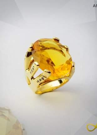 Anel de citrino lapidado com zircônias folheado a ouro 18k