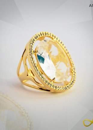 Anel de cristal lapidado com zircônias folheado a ouro 18k