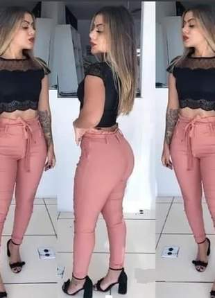 Calça feminina justa cintura alta tecido bengaline