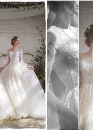 Vestido de noiva debutante casamento longo channel cauda longa