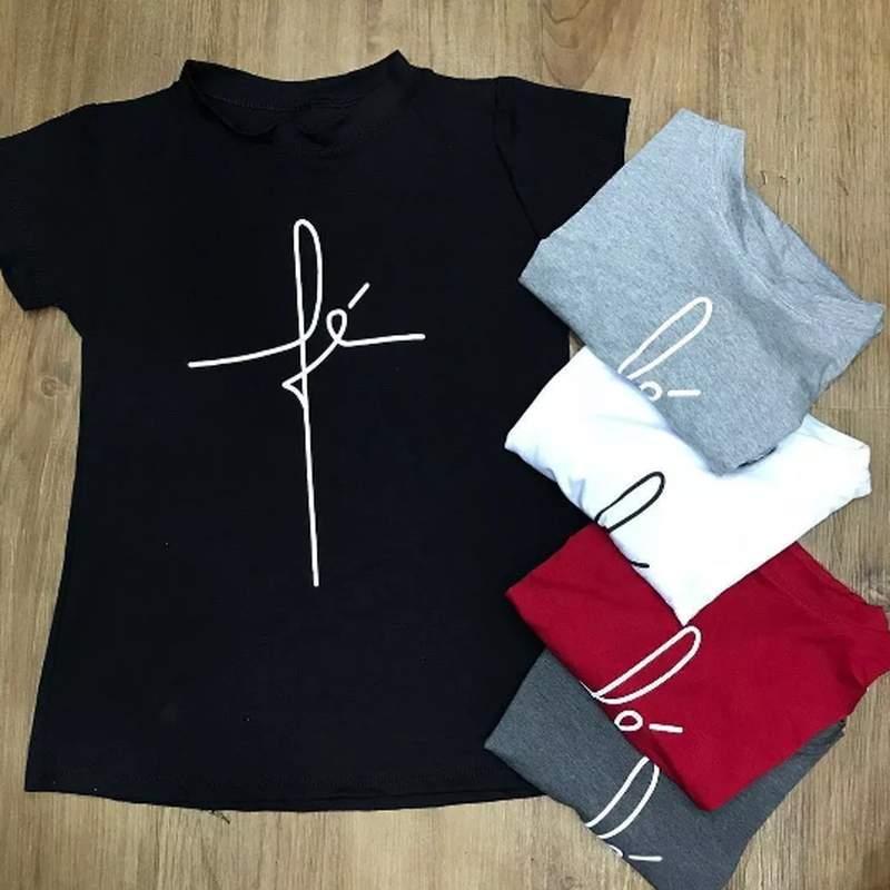 575e07745 T-shirts blusa roupa camisa feminina fé moda instagram - R$ 43.35 ...