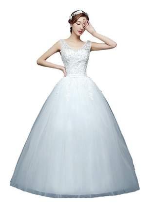 Vestido de casamento noivas daisy princess comprido noivas e debutantes