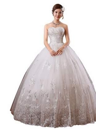 Belíssimo vestido de noiva princesa brilhante comprido casamento e debutante