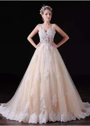 Vestido de noiva louise casamento ou debutante baile 15 anos fomatura na cor champagne