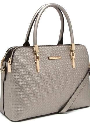 Bolsa de mão estruturada chenson metalizada prata 81346