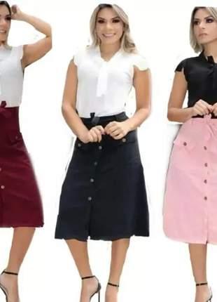 Saia roupa feminina moda evangélica de cinto e botões