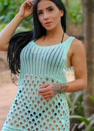 b743e2a8aa20 Saída de praia regata trico banho vestido curto crochê promoção
