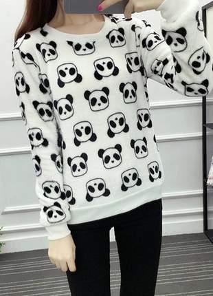 Moletom pêlo pelinhos panda