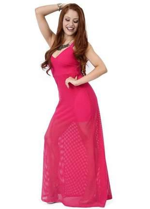 Vestido longo liso de tecido arrastão com forro
